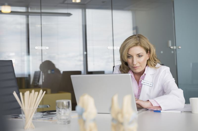 A doctor at her computer.