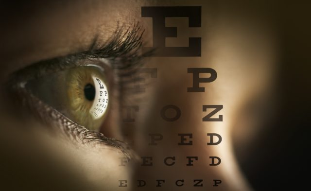 close up of eye and eye test letters