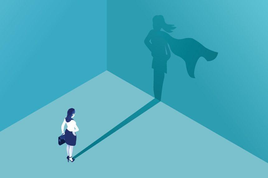 woman with superhero shadow