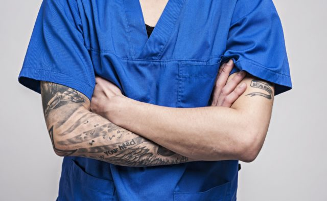 doctor with tattoos