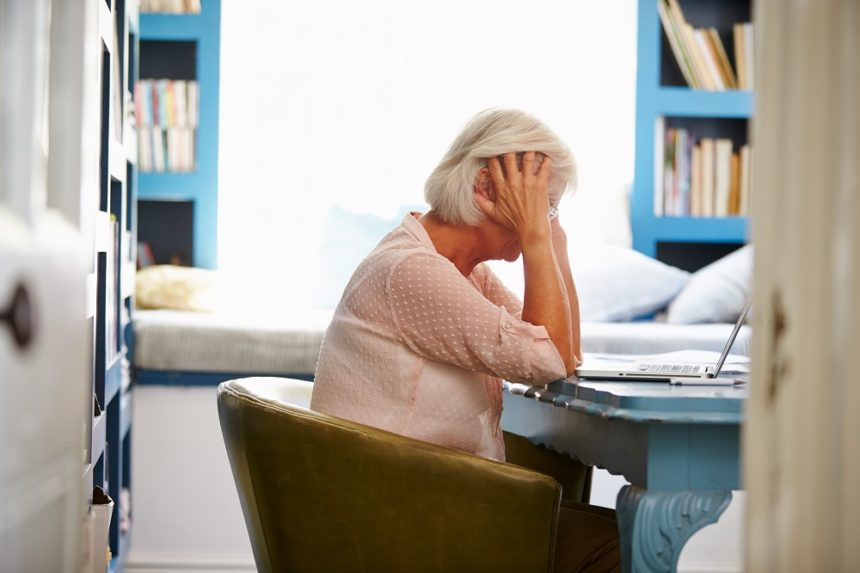 stressed older woman