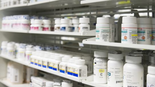 pharmacy with prescriptions shelved
