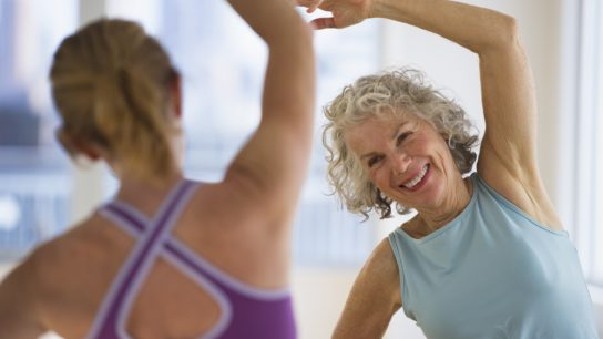 older woman in fitness class