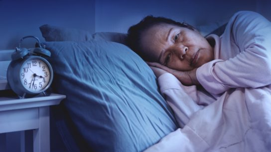elderly woman can't sleep