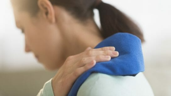 chronic pain, woman with shoulder pain, hot patch