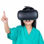 pediatric patient, child in hospital using virtual reality, VR